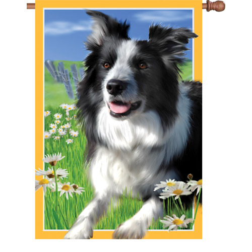 LACEY THE BORDER COLLIE BANNER FLAG