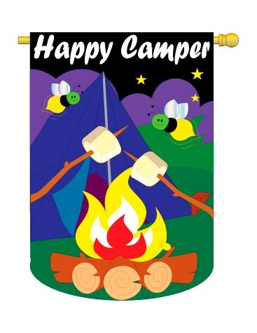 HAPPY CAMPER BANNER FLAG